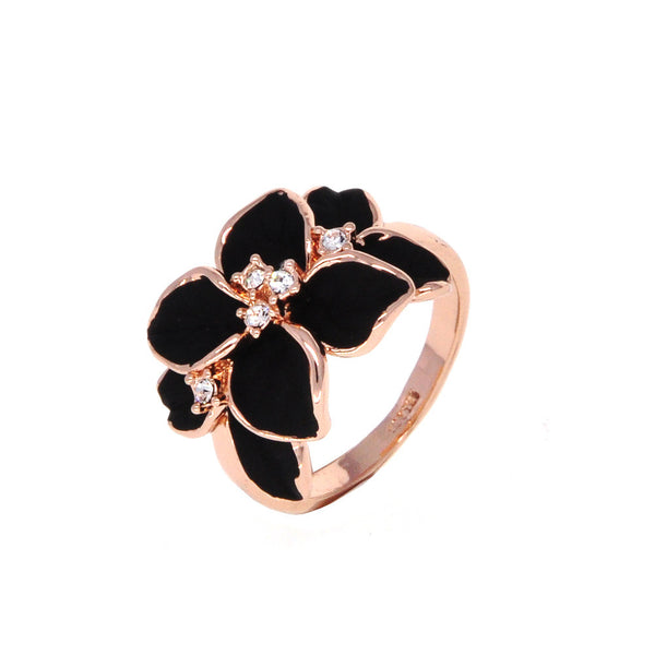Dear Deer Rose Gold Plated Floral Black Leaves Cocktail Ring