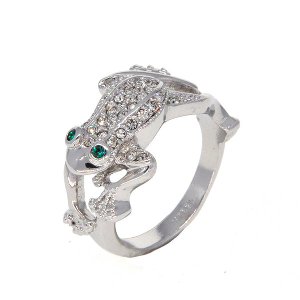 Dear Deer White Gold Plated Cute Frog CZ Pave Cocktail Ring