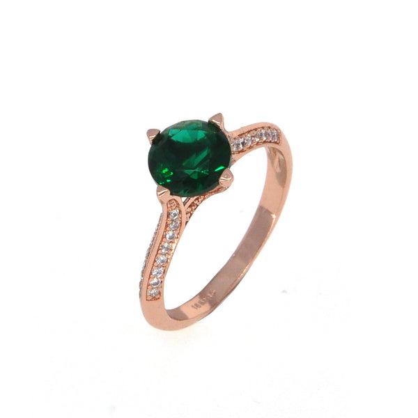 Dear Deer Rose Gold Plated Classic Green CZ Cocktail Ring