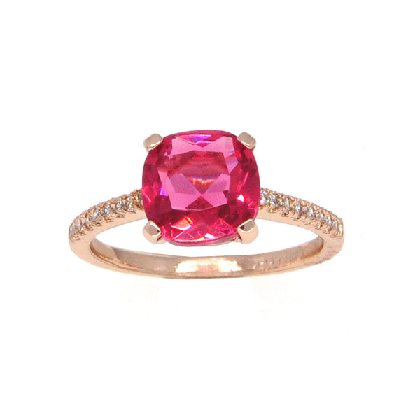 Dear Deer Rose Gold Plated Classic Red CZ Cocktail Ring
