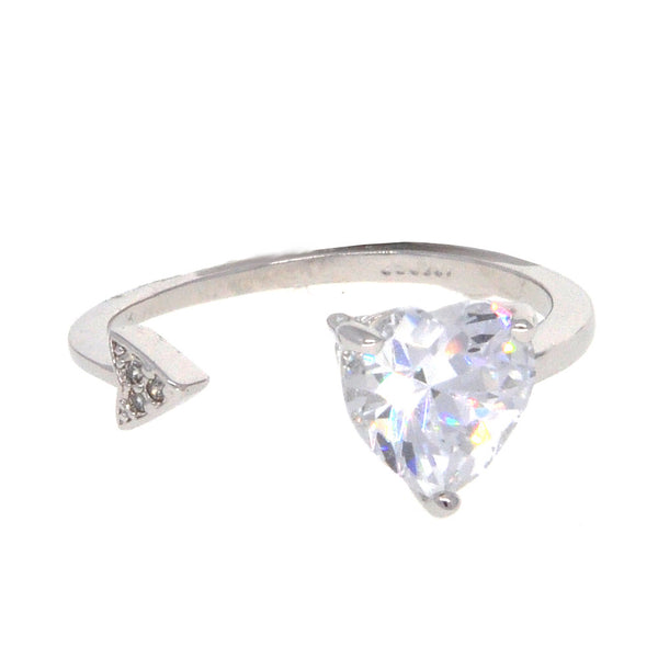 Dear Deer White Gold Plated CZ Heart and Arrow Open End Ring