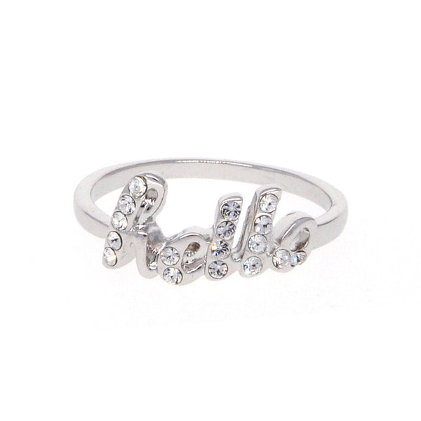 "Dear Deer White Gold Plated ""Hello"" Script CZ Band Ring"