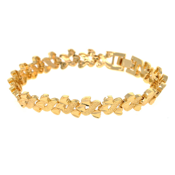 Dear Deer Gold Plated Elegant Triple Heart Link Bracelet