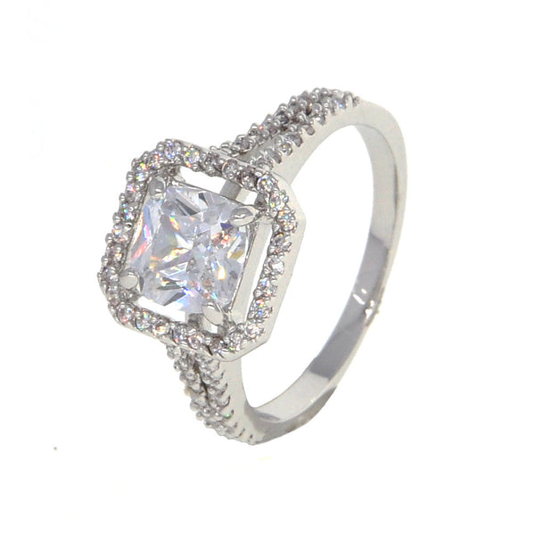 Dear Deer White Gold Plated Classic Square Cubic Zirconia Cocktail Ring