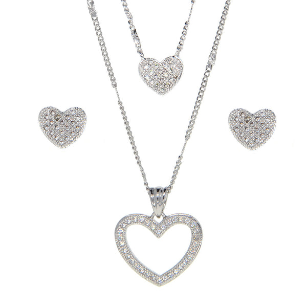 Dear Deer White Gold Plated Love Heart Cubic Zirconia Jewelry Set
