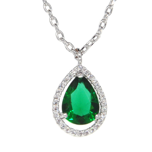 Dear Deer White Gold Plated Cubic Zirconia Classic Green Teardrop Pendant Necklace