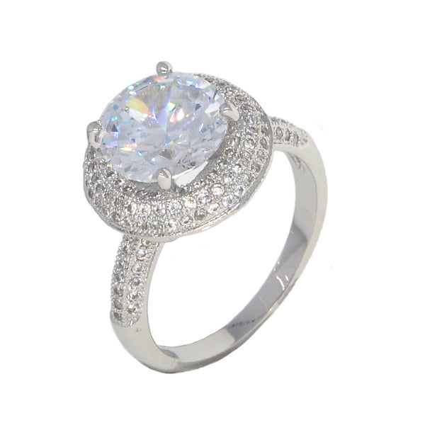 Dear Deer White Gold Plated Cubic Zirconia Classic Round Cocktail Ring