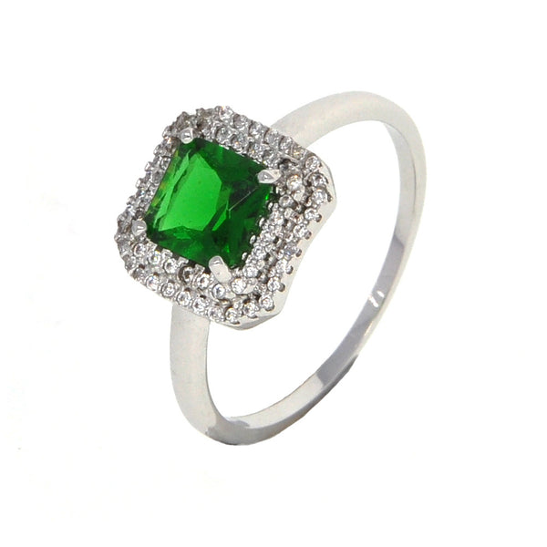 Dear Deer White Gold Plated Classic Green Square Cubic Zirconia Cocktail Ring