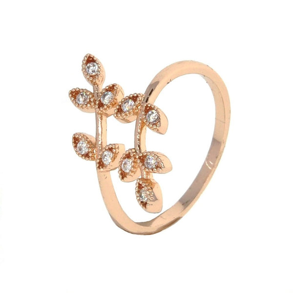 Dear Deer Rose Gold Plated Cubic Zirconia Olive Branch Leaves Leaf Adjustable Ring