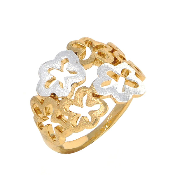 Dear Deer Gold Silver Two Tone Floral Flower Cocktail Ring