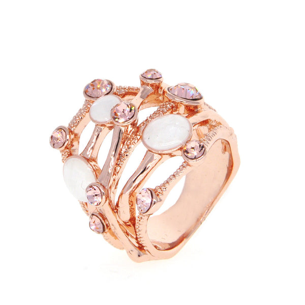 Dear Deer Rose Gold Plated Wide Band Branches Shell CZ Cocktail Ring