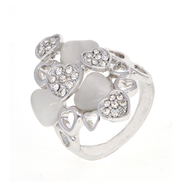 Dear Deer White Gold Plated Vintage Many Hearts CZ Pave Moonstone Cocktail Ring