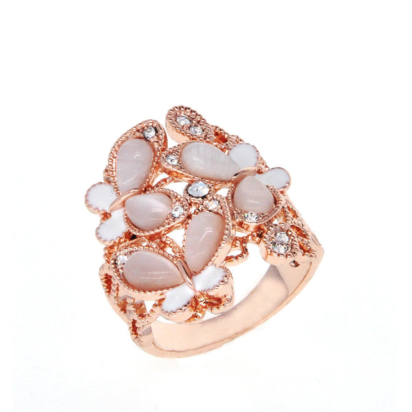Dear Deer Rose Gold Plated Delicate Filigree Butterfly CZ Moonstone Cocktail Ring