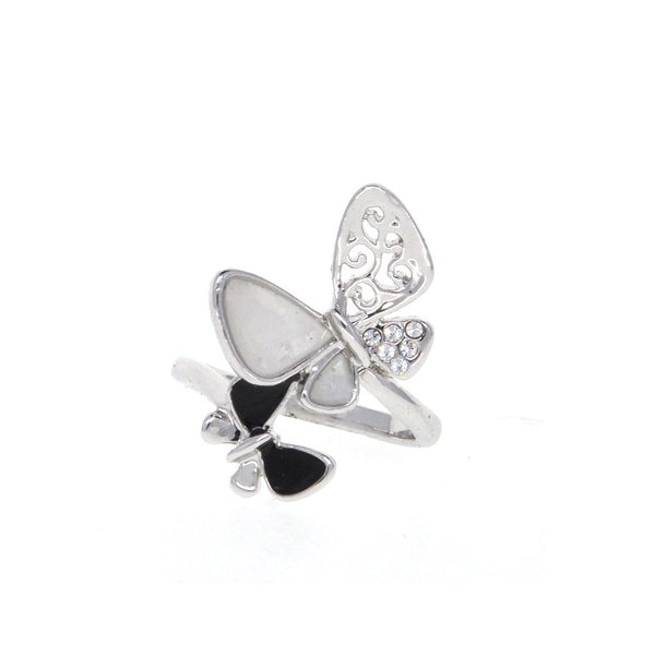 Dear Deer White Gold Plated Black and White Butterfly Cocktail Ring