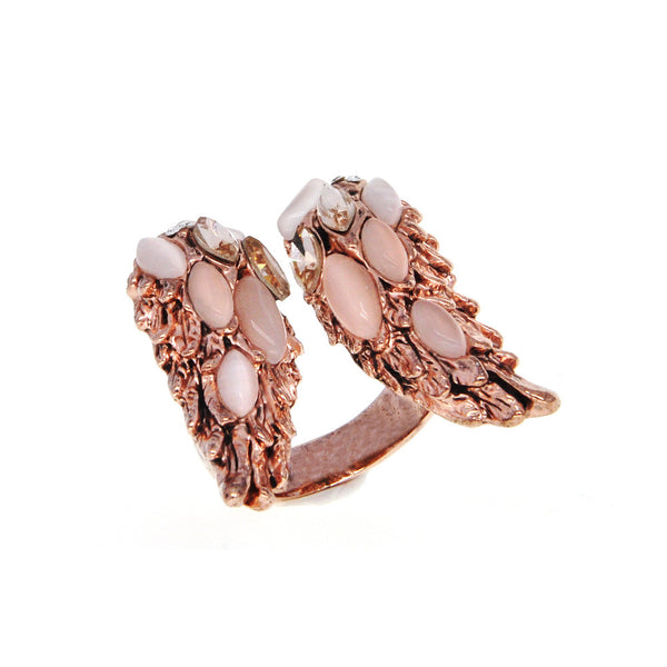 Dear Deer Rose Gold Plated Delicate Feather Wings Moonstone Cocktail Ring