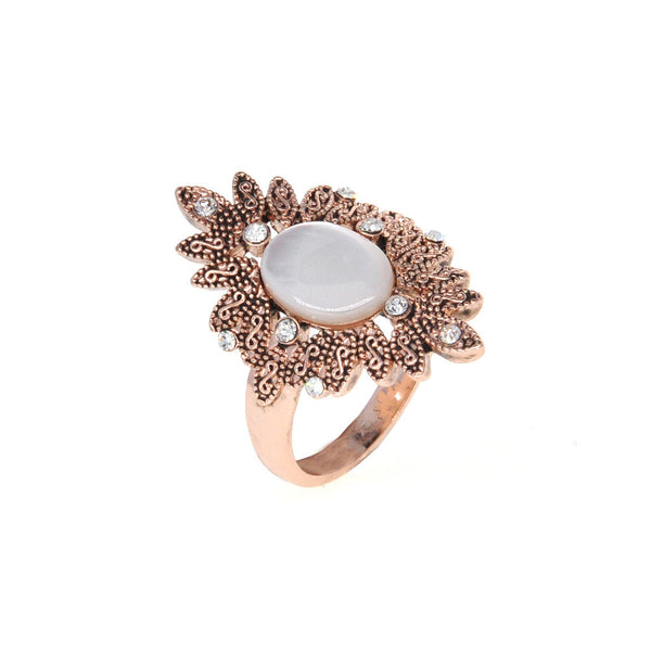 Dear Deer Rose Gold Plated Vintage Floral Leaf Shell Cocktail Ring