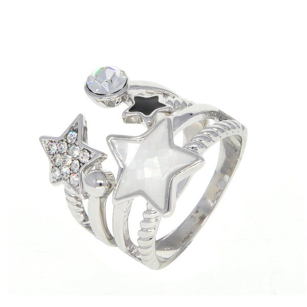 Dear Deer White Gold Plated Stars Double Ring Style Shell CZ Pave Cocktail Ring