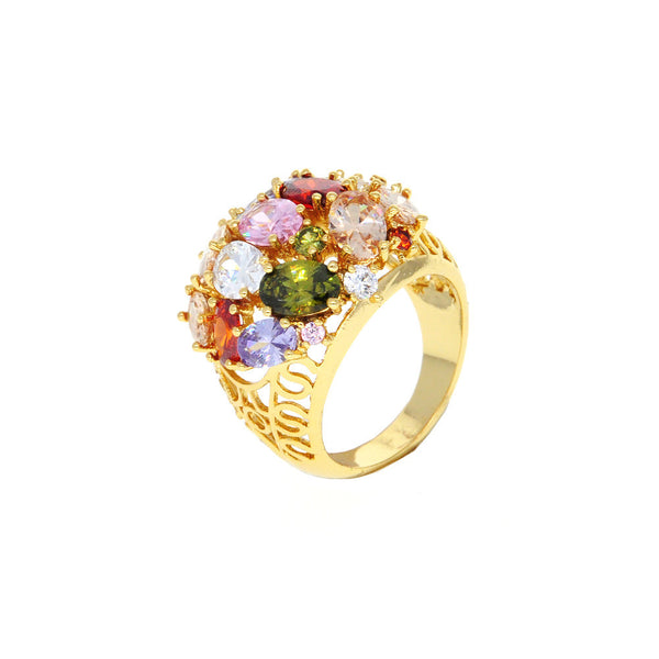Dear Deer Yellow Gold Plated Multicolor Flower Floral Filigree Cocktail Ring