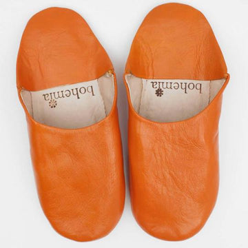 MOROCCAN BABOUCHE BASIC SLIPPERS, ORANGE