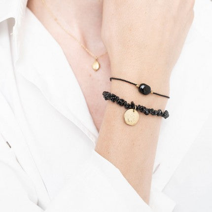 GEMSTONE CARD BLACK ONYX GOLD BRACELET