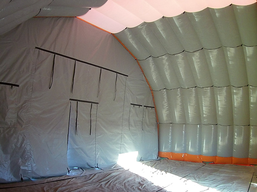 inside view of 10m wide inflatable shelter