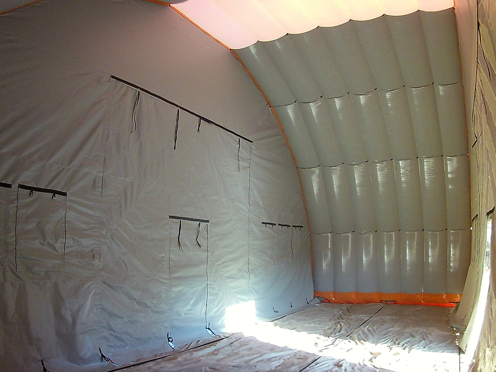 internal view of 14m wide (46ft) inflatable shelter
