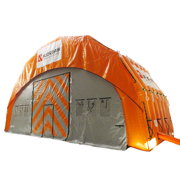 14m (46ft) wide inflatable shelter outside view