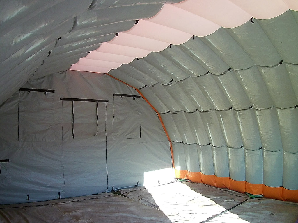 inside view of a 6m (2oft) wide inflatable tent shelter system