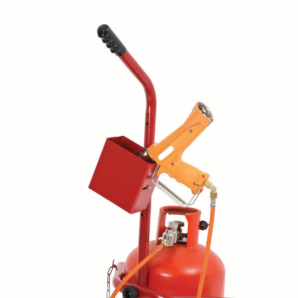 gas cylinder trolley with heat gun holder