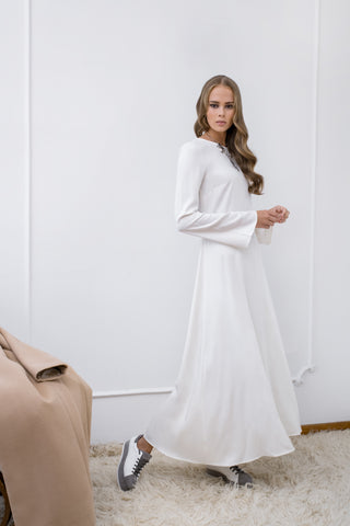 White Viscose Maxi Dress - Dress- arpyes
