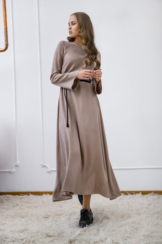 Beige Viscose Maxi Dress - Dress- arpyes