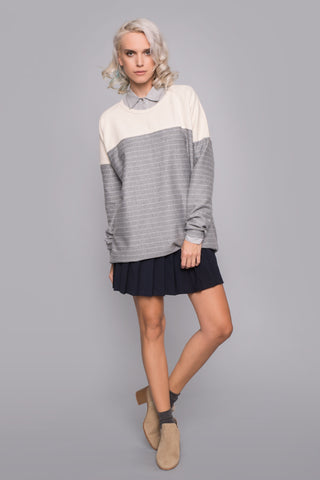 Creme - Grey Stripped Sweater - sweater- arpyes