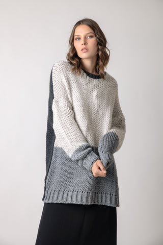 Nogada oversized sweater creme/grey - sweater- arpyes