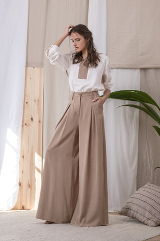 MANHATTAN PANTS BEIGE & BLUE - trousers- arpyes