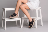 Iris Black Leather Sandals - sandals- arpyes