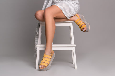Orxidea Yellow Leather Sandals - sandals- arpyes