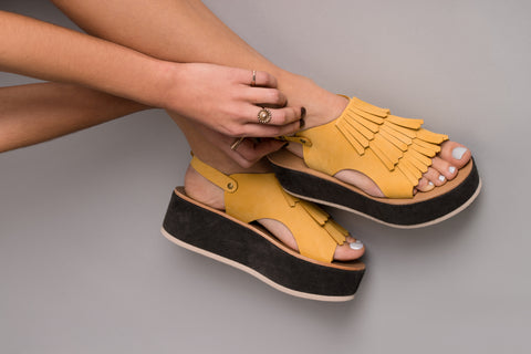 Anemone Yellow Leather Sandals