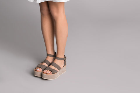 Althaia Taupe Leather Sandals