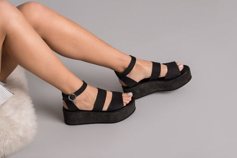 Althaia Black Leather Sandals