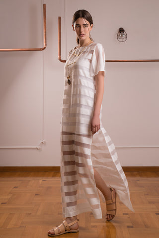 White Striped Transparent dress - Dress- arpyes
