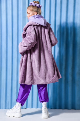 MOONSTONE FAUX FUR COAT LILAC