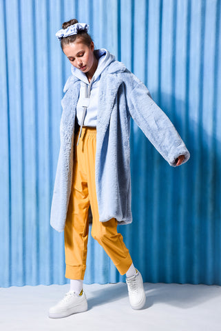 MOONSTONE FAUX FUR COAT LIGHT BLUE