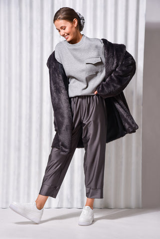 MOONSTONE FAUX FUR COAT DARK GREY