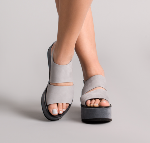 Iris Grey Leather Sandals - sandals- arpyes
