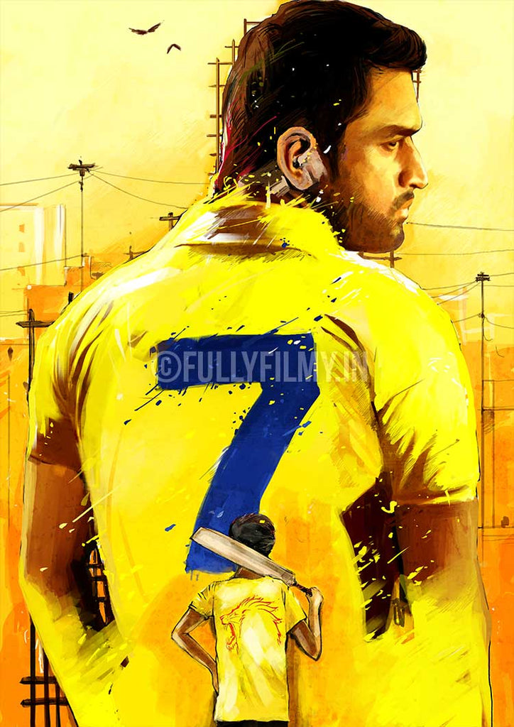 Thala Dhoni Illistrated Poster