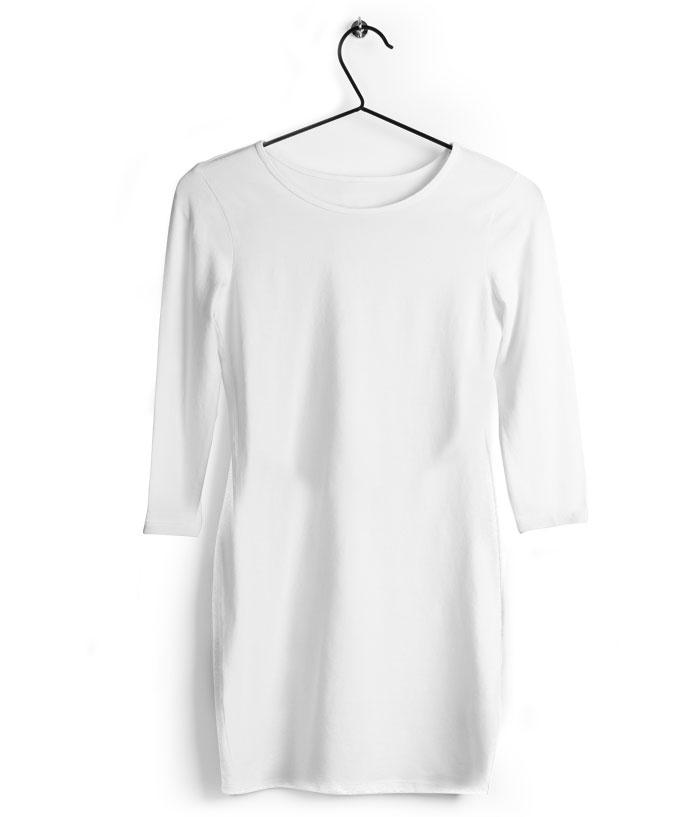 Fully Solid White T-Shirt Dress
