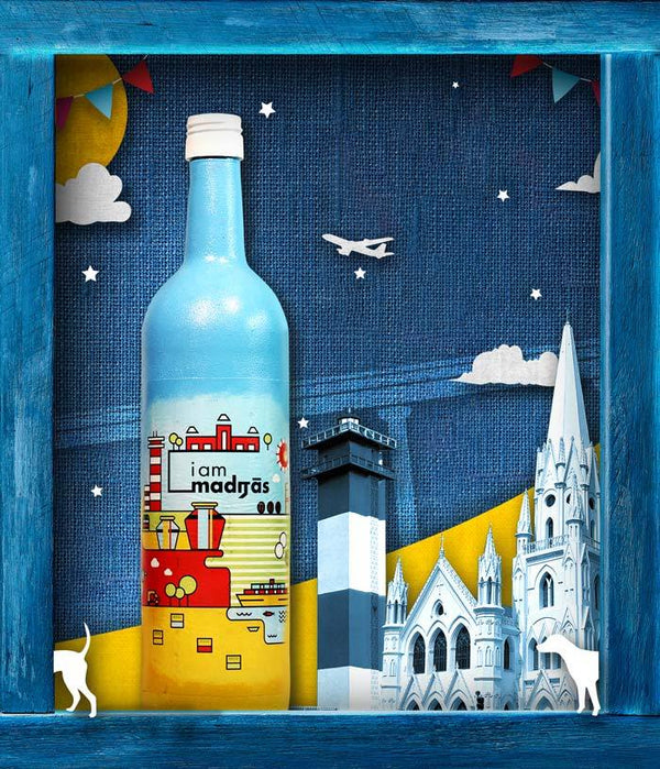 I am Madras - City Edition Decoupage Bottle Art - Fully Filmy