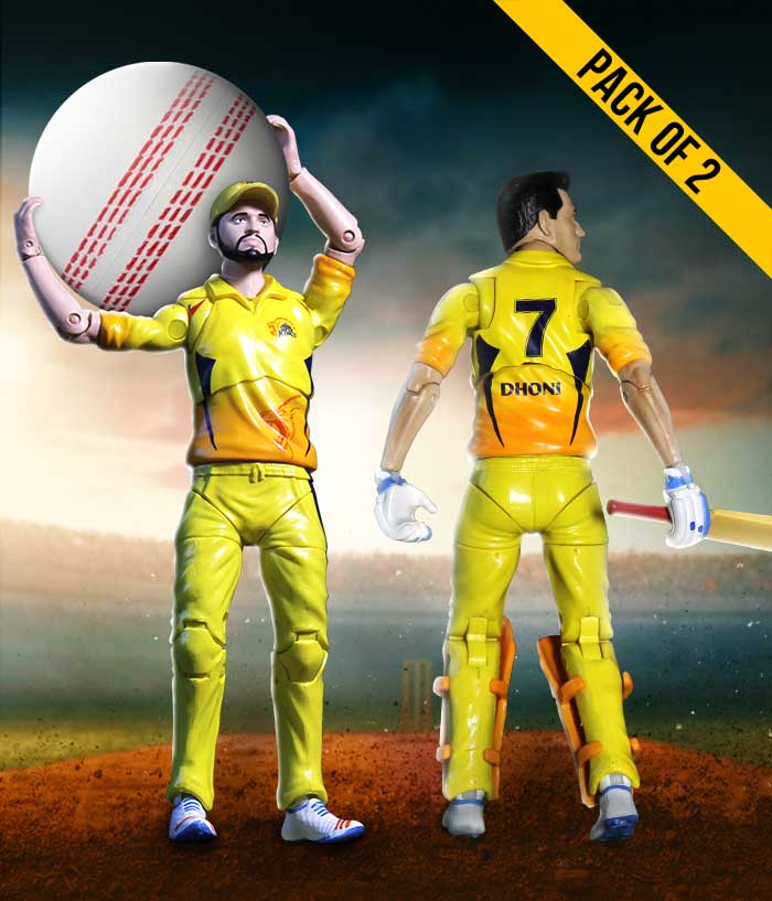 Dhoni-Raina Combo Action Figure - CSK Official Merchandise - fully-filmy