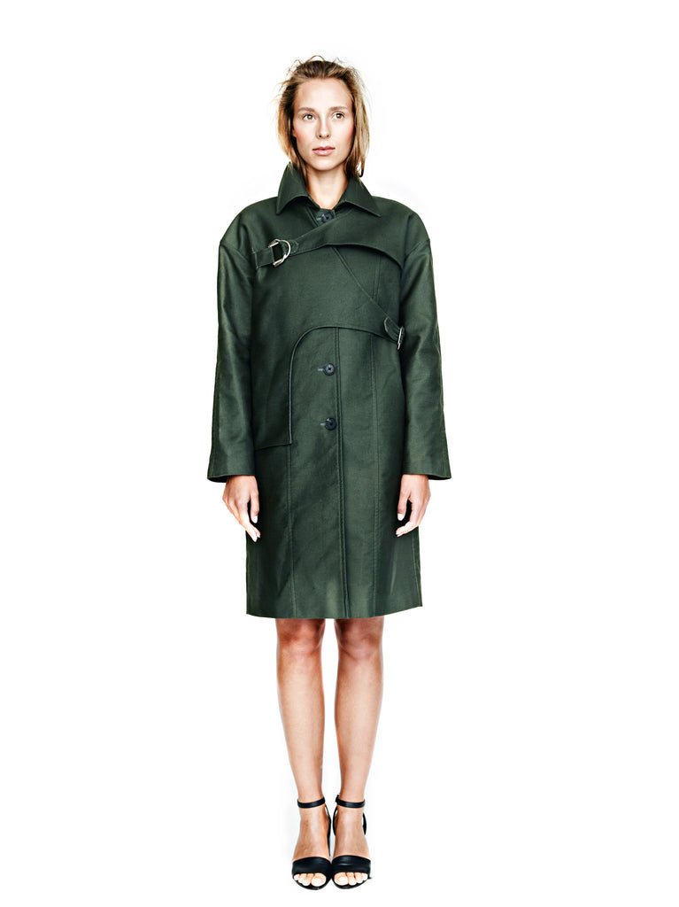 Viktoria Chan - Buckled Trench Coat Dark Green - SILKARMOUR - Luxury Designer Workwear & Office Clothing for Women