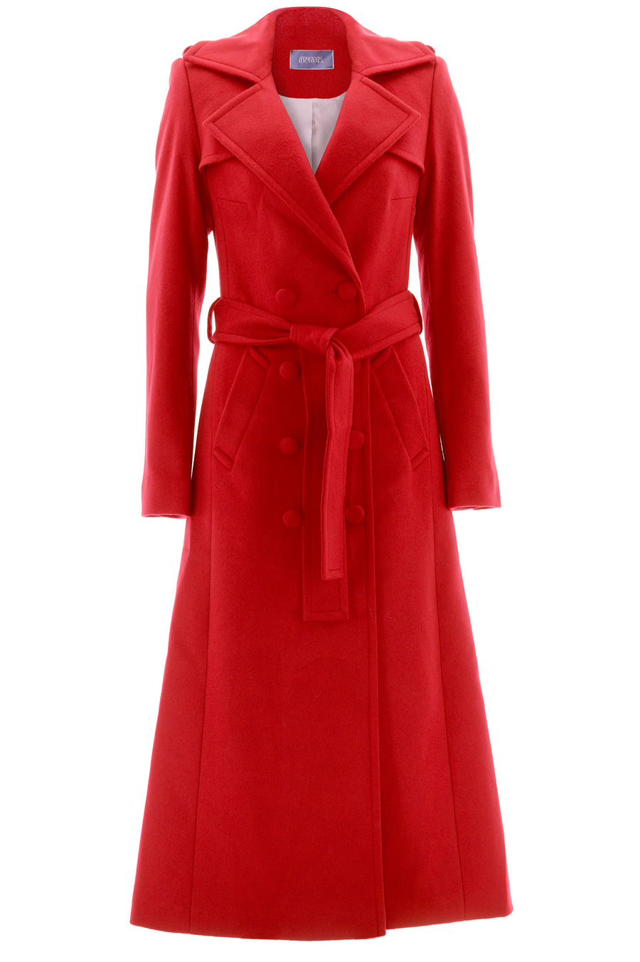 Stefanie Renoma-BRIGHT RED LONG COAT IN CASHEMERE-Silkarmour-1